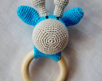 FREE SHIPPING Baby rattle Crochet giraffe Eco rattle Newborn gift Teething toy First baby toy Baby shower gift Crochet rattle Blue teether