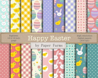 Easter digital paper, easter scrapbook paper, easter patterns, pastel, easter eggs, chicks, bunny, flowers, polkadots, instant download