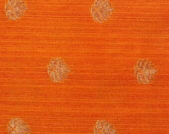 Half Yard of Orange and Golden Zari Flower Pattern Brocade Silk Fabric, Silk Fabric by the yard, Ethnic Fabric, Brocade Fabric
