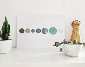 7 Earth-like planets Galaxy modern art print living room decoration illustration present minimalist abstract
