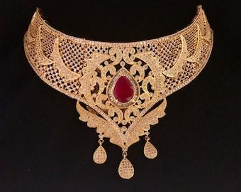 Grand Ruby - Zirconia Bridal Necklace, Earrings & Teeka