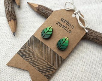 Green leaf wooden stud earrings - leaf studs - wooden earrings - wooden jewelry - wooden jewellery - leave jewelry - wooden studs