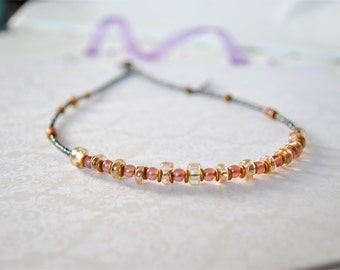Rose Gold and Peach Bead Necklace by Jars in Bloom