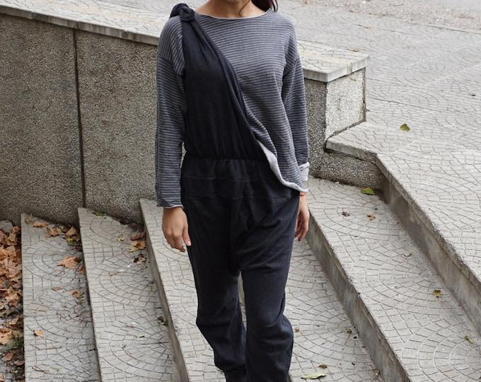 Loose drop crotch Jumpsuit / Double Parts Jumpsuit / Black Sexy Oversized Jumpsuit / Asymmetric top