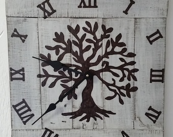 Clocks,Reclaimed wood,tree of life,pallet wood,barn wood,handmade,hand painted,housewarming gift,farmhouse decor,rustic vintage,made in usa.