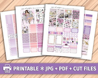 JUST WING IT Printable Planner Stickers/for use with Erin Condren/Weekly Kit/Cutfiles/Glitter Headers Beauty Makeup Fashion Blog Purple