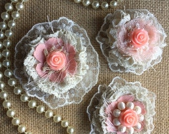 Shabby Chic Fabric Flower/Cottage Chic/Embellishments/Coral  Peach Fabric Flowers/ Vintage Chic Flower/ Girl Headband flower/Doily flowers