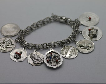 Beautiful Elco Sterling 925 Charm Bracelet 10 Charms