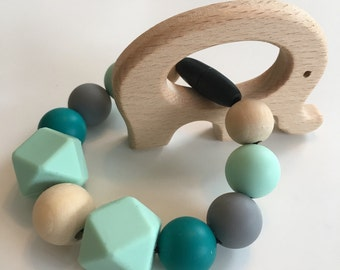 Silicone bead teether/ silicone teething toy/ chewing bead teether/ teething bracelet / teething ring / gift for new mom/food grade silicone