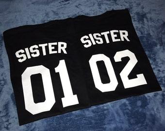 Sister T-shirts, Sister 01 shirt, Big sister shirt, Little sister shirt, Siblings shirts, sisters outfits, Bff shirts, Best friends shirts