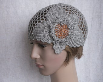 Linen summer hat, grey crocheted retro style sun hat, 1930s net-like grey beanie, romantic holiday cap for women or teen-girl