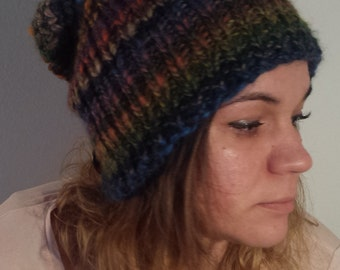 Knit hat, Handmade hat, Chunky knitted hat, Slouchy Hat Beanie, Colored winter hat, Winter hat, Colourful hat