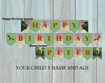 Petes Dragon Birthday Banner, Pete s Dragon Name Banner