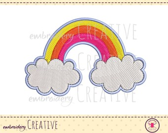 Rainbow embroidery design for patch