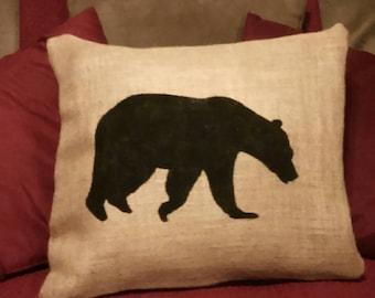 Bear Pillow, Burlap Bear Pillow, Bear Home Decor, Black Bear Pillow, Bear Silhouette Pillow, Hunter Pillow, Cabin Decor, Burlap pillows