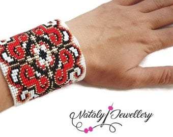 White black red gold bracelet Wide bracelet Colorful bracelet Gift for her Stylish bracelet Ethnic Boho bracelet pattern bracelet