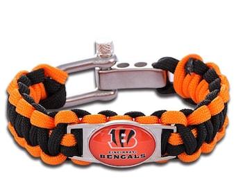 Cincinnati Bengals Paracord Survival Bracelet with Adjustable Shackle