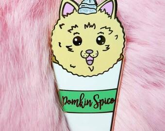 POMKIN SPICE LATTE gold hard enamel pin. Glitter pomeranian pumpkin spice Starbucks dog puppy cute