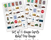 Road Trip Bingo, Games for the car, Road Trip Games, Bingo Cards, Vacation Car Games, Fun Car Games, Fun Driving Game, 11x8.5, 2 up 300 dpi