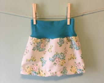 Baby Girl Blue and Pink Vintage Floral Skirt with Cotton Waist Band