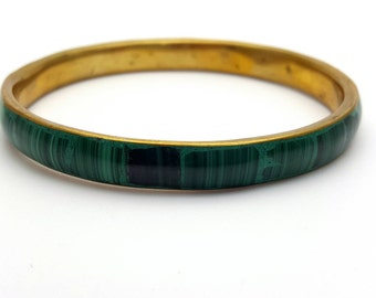 Green Metal and Enamel Statement Thin Bangle Bracelet Vintage from the 70s Costume Jewelry Festival