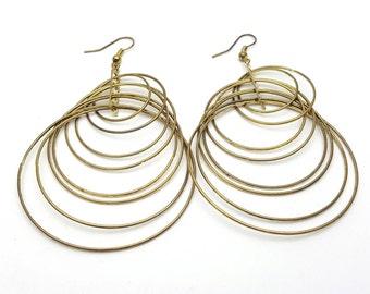 8 Strand Dangle Hoop Earrings Long Vintage Round Gold Tone Metal from the 90s Industrial Grunge Hipster Indie Look