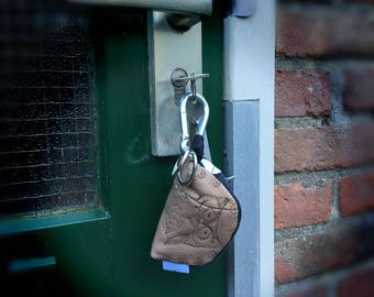 Leather key chain wallet