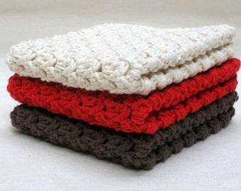 Cotton Washcloths - Crochet Washcloths - Set of Washcloths - Knit Washcloths - Baby Washcloths - Cotton Dishcloths - Baby Shower Gift