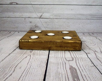 Wooden candle holder - Domino  - wooden tealight holder - tealight holder- candle - wedding present -  Anniversary