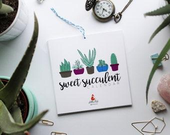 "50% OFF! Small 6""x6"" Calendar    Sweet Succulent   Hand Illustrated 2017 Calendar"