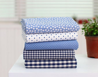 "Pastel Color Blue Series 20s Cotton Fabric - 44""x35"" - 1 Yard"