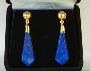Gorgeous 18K Yellow Gold Lapis Lazuli Dangle Screw Back Earrings