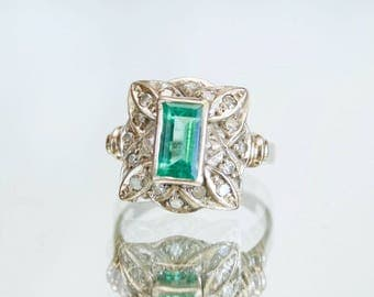 Art Deco 18k White Gold Rich Green Emerald & Diamond Ring, Gatsby Style, 1.82TCW