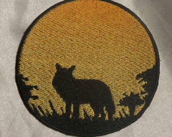 Embroidered Sunset Woods Wild Coyote Silhouette Ombre Circle Patch Iron On Sew On USA