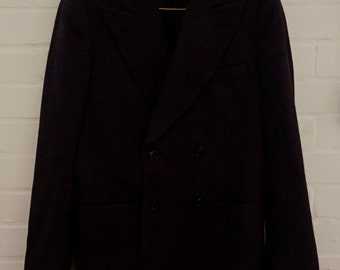 Vintage 1960s Men's Purple Double Breasted Blazer UK 36-38