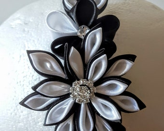 Kanzashi Headband, Black Flower Headband. Black Headband, Rhinestone Headband, Girls Headband, Flower Girl Headband