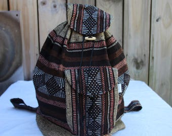 Handmade Loomed Mexican backpack in Brown and Red stripes and diamond pattern / Hippie backpack / Goa backpack / Brown and Red backpack