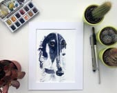 Borzoi painting, Russian wolfhound painting, dog painting, sleeping dog, Borzoi watercolour, Russian Wofhound picture, Dog art, Dog present,