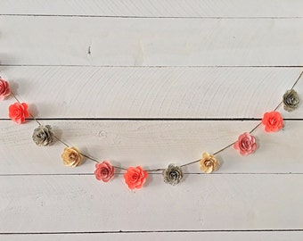 Customizable Handmade Paper Flower Garland- 6 ft.