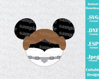 INSTANT DOWNLOAD SVG Disney Inspired Princess Leia Mickey Ears for Cutting Machines Svg, Esp, Dxf and Jpeg Format Cricut Silhouette