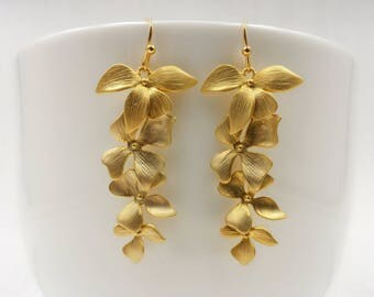 Gold Orchids Earrings, Gold Orchid Earring, Matte Gold Orchids Flowers Long Dangle Earrings, Wedding Jewelry, Bridal Bridesmaid Gift For Her