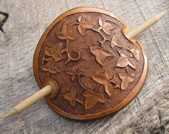 Hand Tooled Leather Hair Barrette with Ivy Leaf Design. Free Shipping