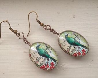 Teal bird earrings... glass nature earrings