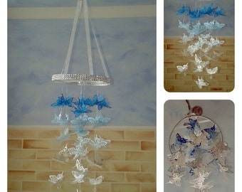 Blue Butterfly Chandelier Mobile - baby/child/nursery/bedroom/baby shower/christening