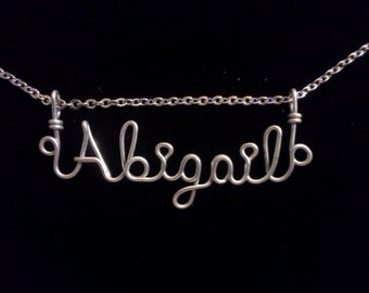 Abigail Necklace, Personalized Necklace, Stainless Steel Necklace, Name Necklace, Custom Name Necklace, Wire Name Necklace, Custom Nameplate
