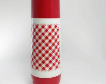 vintage Thermo Serv thermos red white gingham print, picnic table print thermos,retro glass lined thermos,retro picnic lunch thermos