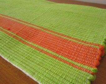 Handmade woven table runner | Green and orange table runner | Home decor | Kitchen decor |