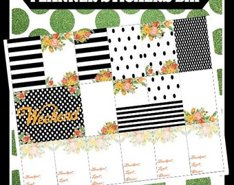 Striped Floral Black & White BHP Big Happy Printable Planner Stickers Digital