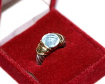 David Yurman Blue Topaz Gold and Sterling Ring Size 6.5