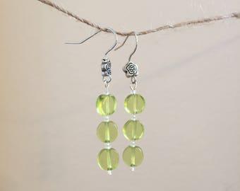 Pale Green Glass Drop Down Earrings